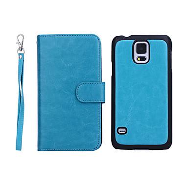 رخيصةأون حافظات / جرابات هواتف جالكسي S-غطاء من أجل Samsung Galaxy S5 محفظة / حامل البطاقات / قلب غطاء كامل للجسم لون سادة جلد أصلي