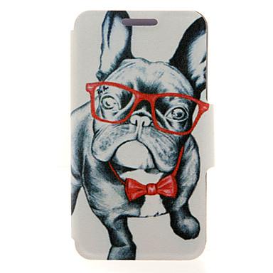 voordelige Galaxy A-serie hoesjes / covers-hoesje Voor Samsung Galaxy A8 / A7 / A5 Kaarthouder / met standaard / Flip Volledig hoesje Hond PU-nahka