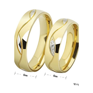 お買い得  ペアリング-カップル用 カップルリング バンドリング 溝リング 合成ダイヤモンド 1個 ゴールデン ラインストーン チタン鋼 円形 レディース シンプルなスタイル 結婚式 パーティー ジュエリー 幸福 友情