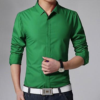 رخيصةأون قمصان رجالي-رجالي عمل الأعمال التجارية أساسي قميص, لون سادة ياقة كلاسيكية نحيل / كم طويل