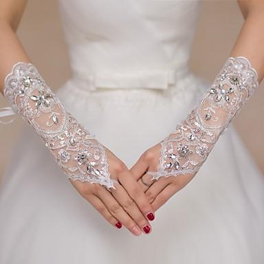Dantelă Lungime Cot Mănușă Mănuși de Mireasă / Mănuși de Party / Seară / Mănuși Fete cu Flori Cu Piatră Semiprețioasă / Paiete
