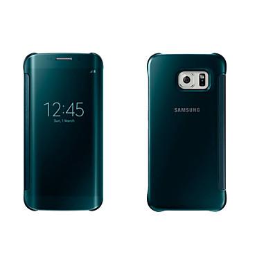 Недорогие Чехлы и кейсы для Galaxy S6 Edge-Кейс для Назначение SSamsung Galaxy S8 Plus / S8 / S7 edge с окошком / С функцией автовывода из режима сна / Зеркальная поверхность Чехол Однотонный Мягкий ПК