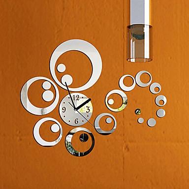 الأزياء مرآة ساعة للإزالة نمط diy الفن ملصقات الحائط ل ديكور المنزل (الفضة)