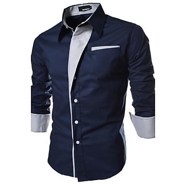 رخيصةأون قمصان رجالي-رجالي أساسي قياس كبير قميص, لون سادة ياقة مفرودة نحيل / كم طويل / الربيع / الخريف