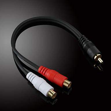 olcso JSJ®-jsj® 0.2m 0.656ft RCA male 2x RCA female audio-video kábel fekete zenei felvétel