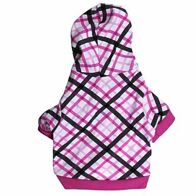 povoljno Odjeća za psa i dodaci-Mačka Pas Hoodies Odjeća za psa Plaid / Check Pink Pamuk Kostim Za Proljeće & Jesen Zima Muškarci Žene Ležerno / za svaki dan