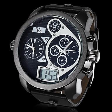رخيصةأون ساعات الرجال-V6 رجالي ساعة عسكرية كوارتز ياباني جلد اصطناعي أسود رزنامه ساعة رياضية LCD تناظري-رقمي أبيض أسود / منطقتا زمنية