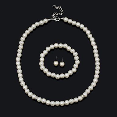 رخيصةأون مجموعات مجوهرات فينتيج-للمرأة مجموعة مجوهرات سوار أقراط القلائد - قديم جميل حفلة عمل كاجوال عبارة موضة أوروبي حصى أبيض مجموعة مجوهرات من أجل