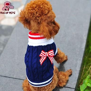 povoljno Odjeća za psa i dodaci-Mačka Pas Puloveri Zima Odjeća za psa Crvena Plava Kostim Flis Pamuk Mašna Cosplay Vjenčanje XXS XS S M L