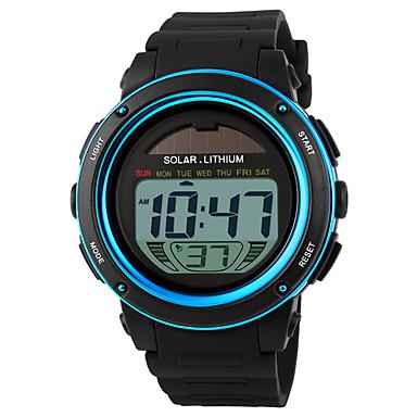 رخيصةأون ساعات الرجال-SKMEI رجالي ساعة رياضية ساعة المعصم ساعة رقمية طاقة شمسية رقمي مطاط أسود 30 m مقاوم للماء المنبه رزنامه رقمي أزرق ذهبي سنتان عمر البطارية / الكرونوغراف / الطاقة الشمسية / LCD / Maxell CR2025
