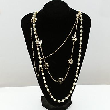 olcso Gyöngy nyakláncok-Női Kristály Nyilatkozat nyakláncok Pearl Pászmák hosszú nyaklánc Lotus hölgyek Európai Divat 18 karátos futtatott arany Gyöngy Strassz Arany Nyakláncok Ékszerek Kompatibilitás / Hamis gyémánt