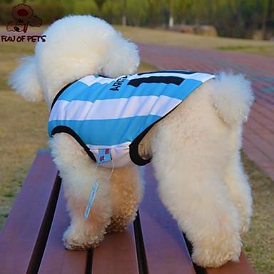 رخيصةأون ملابس وإكسسوارات الكلاب-قط كلب T-skjorte جورسيه ملابس الكلاب أزرق كوستيوم تيريليني مخطط مطبوعة بأحرف وأرقام الكوسبلاي الزفاف XS S M L XL