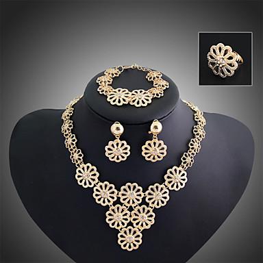 رخيصةأون أطقم المجوهرات-تكويم سيدات حفلة سلسلة أوروبي متعدد الطبقات مكعبات زركونيا الأقراط مجوهرات ذهبي من أجل / القلائد