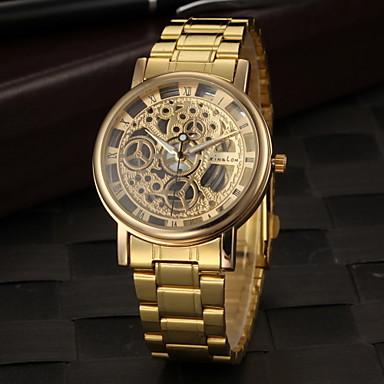 Недорогие Часы на металлическом ремешке-Муж. Часы со скелетом Наручные часы Кварцевый Кулоны С гравировкой Аналоговый Золотой / Нержавеющая сталь