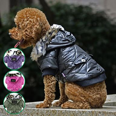 رخيصةأون ملابس وإكسسوارات الكلاب-كلب المعاطف سترة الشتاء ملابس الكلاب أسود أرجواني أخضر كوستيوم القطبية ابتزاز تيريليني مقاومة الماء أسلوب بسيط XS S M L XL XXL