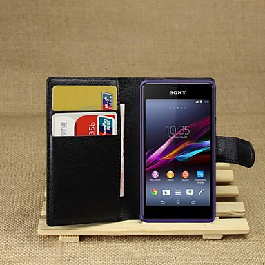 Недорогие Чехлы и кейсы для Sony-Кейс для Назначение Sony Xperia Z2 / Sony Xperia M2 / Другое Sony Xperia Z2 / Sony Xperia M2 / Other Кошелек / Бумажник для карт / со стендом Чехол Однотонный Твердый Кожа PU