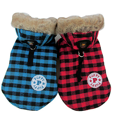 رخيصةأون ملابس وإكسسوارات الكلاب-كلب المعاطف هوديس سترة الشتاء ملابس الكلاب أصفر أحمر أزرق كوستيوم قطن S M L XL