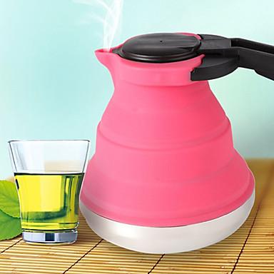 povoljno Pribor za kavu/čaj i čaše-1.5L prijenosni sklopivi silikonska vodu s ručkom i čelika baze nehrđajućeg (slučajni boje)