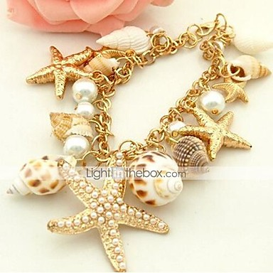 ieftine Brățări-Pentru femei Perle Brățări Bantă Stea de mare femei Design Unic Boem Modă Boho Imitație de Perle Bijuterii brățară Auriu Pentru Zilnic Casual / Scoică