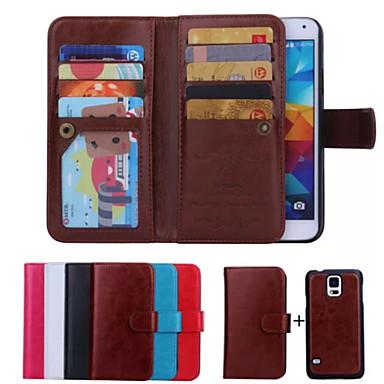 voordelige Galaxy S-serie hoesjes / covers-hoesje Voor Samsung Galaxy S6 edge / S6 / S5 Portemonnee / Kaarthouder / Flip Volledig hoesje Effen PU-nahka