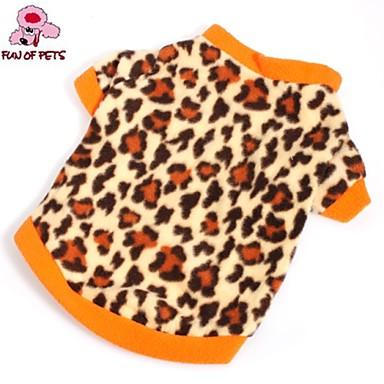 povoljno Odjeća za psa i dodaci-Mačka Pas T-majica Sportska majica Zima Odjeća za psa Braon Kostim Flis Leopard Moda XS S M L
