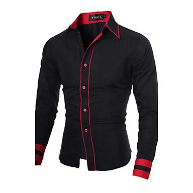 رخيصةأون قمصان رجالي-رجالي عمل الأعمال التجارية أساسي قياس كبير قميص, ألوان متناوبة ياقة مفرودة نحيل الأحمر والأسود / كم طويل / الربيع / الخريف