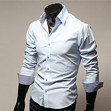 رخيصةأون قمصان رجالي-رجالي عمل الأعمال التجارية أساسي قياس كبير قميص, لون سادة ياقة كلاسيكية نحيل / كم طويل / الربيع / الخريف