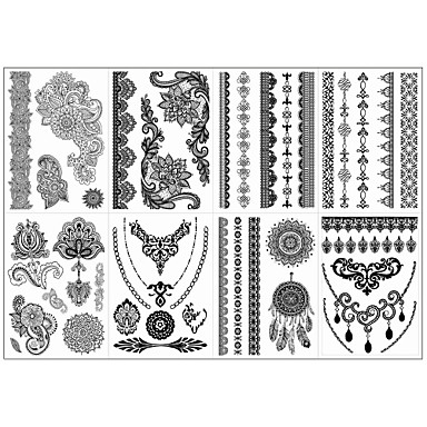 8pcs Opp New Brand Design India Black Henna Ink Tatoo Temporary