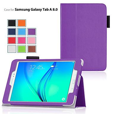 رخيصةأون حالة سامسونج اللوحي-غطاء من أجل Samsung Galaxy / علامة التبويب A 8.0 / علامة التبويب A 9.7 مع حامل / قلب غطاء كامل للجسم لون سادة جلد PU