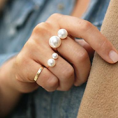 povoljno Prstenje-Žene Prsten Izjave prsten za palac Biseri Zlato Srebro Biseri Legura dame Moda Party Jewelry jeftino Prilagodljiv