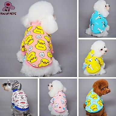 رخيصةأون ملابس وإكسسوارات الكلاب-قط كلب T-skjorte منامة ملابس الكلاب أزرق وأصفر أصفر أزرق كوستيوم القطبية ابتزاز قطن كارتون كاجوال / يومي XS S M L XL