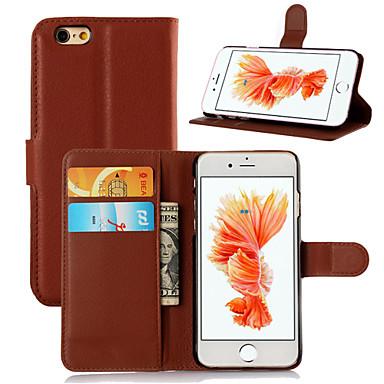 Недорогие Кейсы для iPhone-Кейс для Назначение Apple iPhone 6s Plus / iPhone 6s / iPhone 6 Plus Бумажник для карт / Флип Чехол Однотонный Твердый Кожа PU
