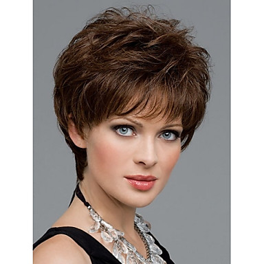 2f104740bcb2bf women nice short natural straight wig stylish lady brown synthetic hair wigs  #04350877