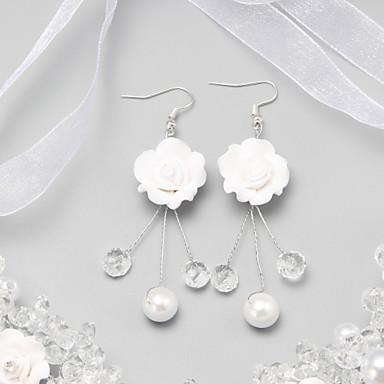 رخيصةأون أقراط-أبيض كريستال وردة الأقراط مجوهرات أبيض من أجل