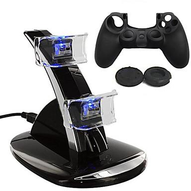 olcso PS4 akkumulátorok és töltők-Töltő / Játékvezérlő tokvédő Kompatibilitás PS4 ,  Töltő / Játékvezérlő tokvédő Szilikon / ABS 1 pcs egység