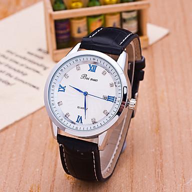 Недорогие Часы на кожаном ремешке-Муж. Модные часы Кварцевый Кожа Аналоговый - Черный Кофейный