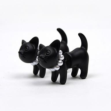رخيصةأون أقراط-نسائي أقراط الزر قط حيوان اللؤلؤ لؤلؤ تقليدي راتينج الأقراط مجوهرات أسود من أجل