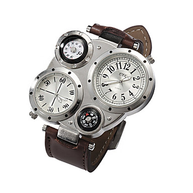Недорогие Часы на металлическом ремешке-Муж. Наручные часы Кварцевый Кулоны Повседневные часы Аналоговый Темно-коричневый Белый Черный / Нержавеющая сталь / Кожа