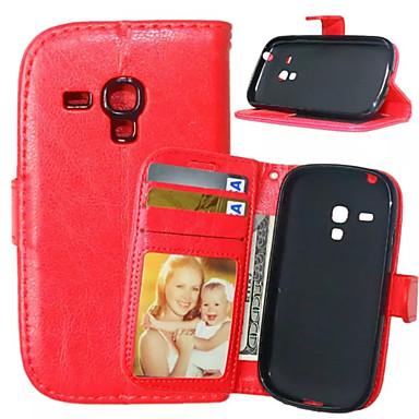 رخيصةأون حافظات / جرابات هواتف جالكسي S-غطاء من أجل Samsung Galaxy S5 Mini / S4 Mini / S4 محفظة / حامل البطاقات / مع حامل غطاء كامل للجسم لون سادة جلد PU