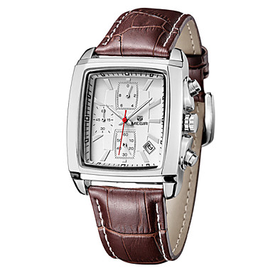 Недорогие Часы на кожаном ремешке-MEGIR Муж. Модные часы Кварцевый Защита от влаги Кожа Черный / Коричневый Аналоговый - Черный Коричневый