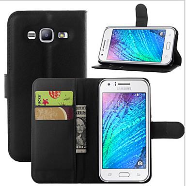 voordelige Galaxy J-serie hoesjes / covers-hoesje Voor Samsung Galaxy J7 (2016) / J7 / J5 (2016) Portemonnee / Kaarthouder / met standaard Volledig hoesje Effen PU-nahka
