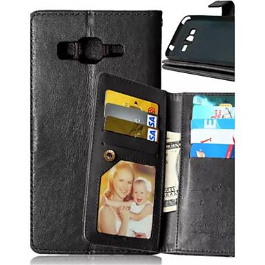 זול כיסויים לסדרת גלאקסי J-מגן עבור Samsung Galaxy J5 / J1 / Grand Prime ארנק / מחזיק כרטיסים / עם מעמד כיסוי מלא אחיד עור PU