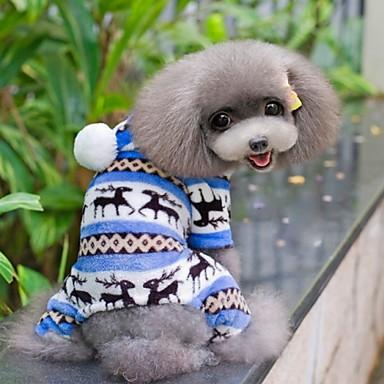 Câine Salopete Pijamale Iarnă Îmbrăcăminte Câini Maro Rosu Albastru Costume Lână polară Fulg zăpadă Casul / Zilnic XS S M L XL XXL