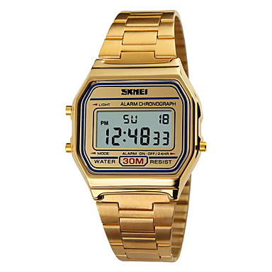 cheap Steel Band Watches-SKMEI Men's Sport Watch Wrist Watch Digital Watch Digital Water Resistant / Waterproof Digital Rose Gold Gold Silver / Stainless Steel / Stainless Steel / Two Years / Alarm / Calendar / date / day