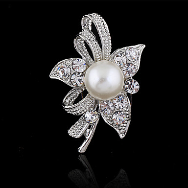 cheap Brooches-Women's Brooches Flower Ladies Fashion Crystal Brooch Jewelry Silver For Wedding Party