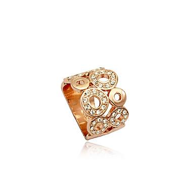 olcso Divat gyűrűk-Női Nyilatkozat gyűrű Kristály Ezüst Aranyozott Kristály Ezüstözött Hamis gyémánt Luxus Európai Divat Parti Napi Ékszerek Üreg / Ötvözet