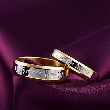 Недорогие Женские украшения-Для пары Кольцо прядильное кольцо M W Титановая сталь Дамы Мода Свадьба Повседневные Бижутерия Двухцветные