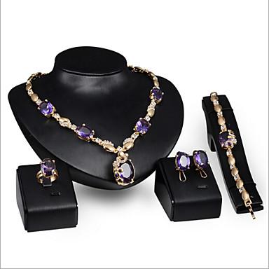 ieftine Seturi de Bijuterii-Pentru femei Ametist sintetic Seturi de bijuterii femei Ștras cercei Bijuterii Mov Pentru Nuntă Petrecere Ocazie specială Aniversare Zi de Naștere Logodnă / Inele / Cadou / Zilnic / Cercei / Coliere