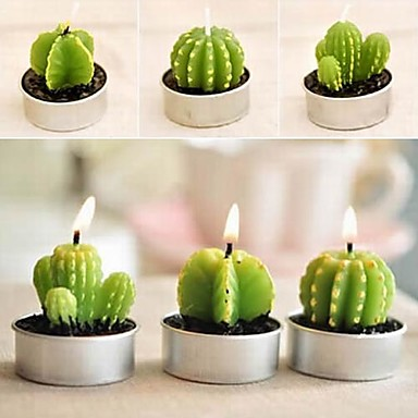 olcso Party edények-6 x kaktusz növényi fazék készlet gyertya gyertya party esküvői díszek (véletlenszerű szín)