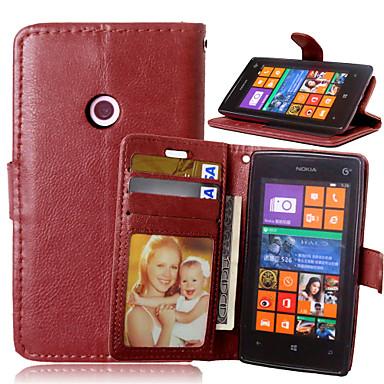 Недорогие Чехлы и кейсы для Nokia-Кейс для Назначение Nokia Lumia 625 / Nokia Lumia 520 / Nokia Lumia 630 Nokia Lumia 640 XL / Nokia Lumia 535 / Nokia Lumia 435 Кошелек / Бумажник для карт / со стендом Чехол Однотонный Твердый Кожа PU